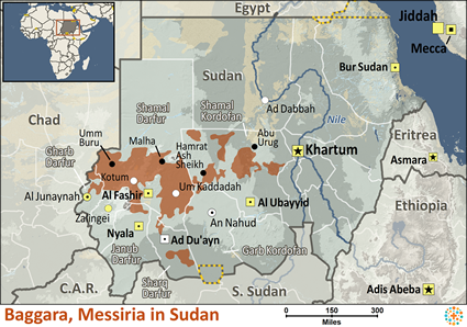 Baggara, Messiria in Sudan map