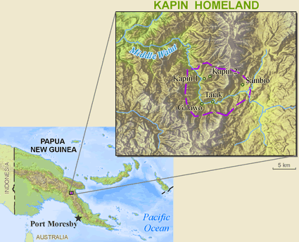 Middle Watut, Sambio in Papua New Guinea map