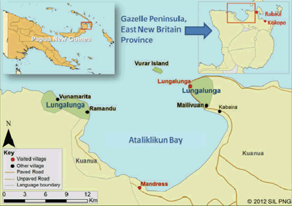 Lungalunga in Papua New Guinea map