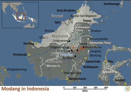 Modang in Indonesia map
