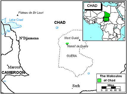 Mokoulou in Chad map