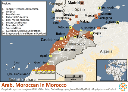Arab, Moroccan in Morocco map
