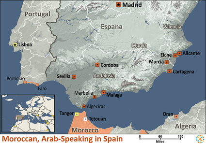 Moroccan, Arabic-speaking in Spain map