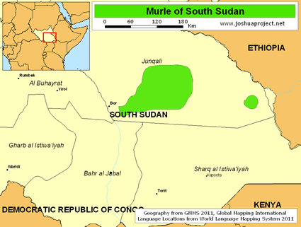 Murle in South Sudan map