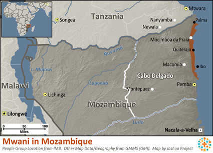 Mwani in Mozambique map