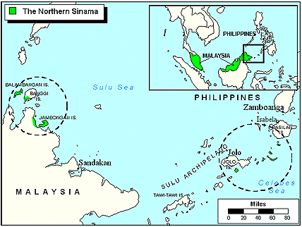 Sama Bangingi, Northern Sama in Malaysia map