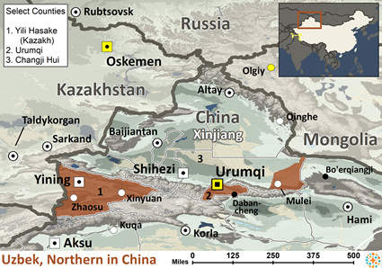 Uzbek, Northern in China map