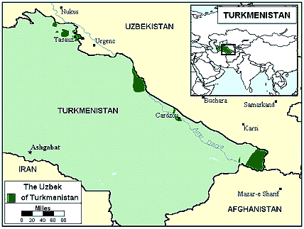 Uzbek, Northern in Turkmenistan map