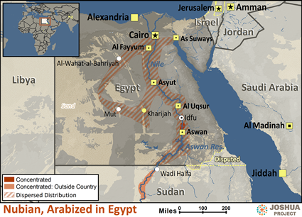 Nubian, Arabized in Egypt map