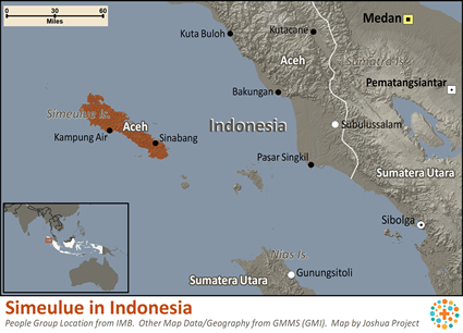 Simeulue in Indonesia map