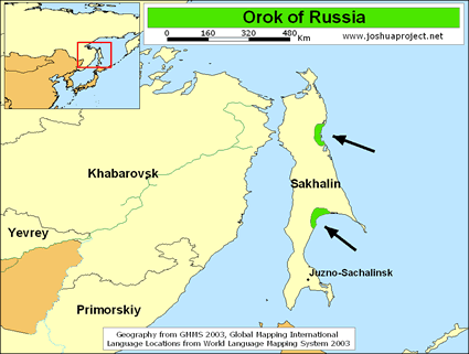 Orok in Russia map