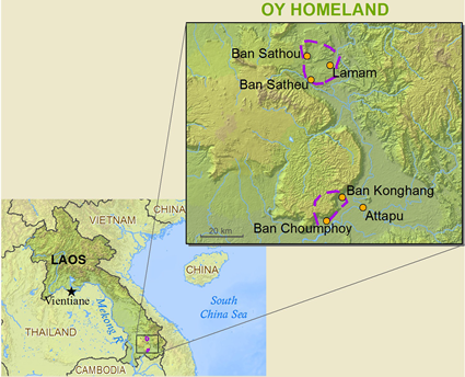 Oy in Laos map