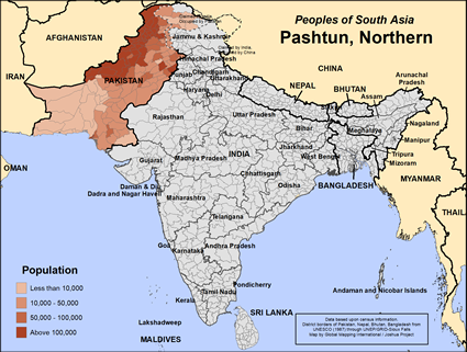 Pashtun, Northern in New Zealand map