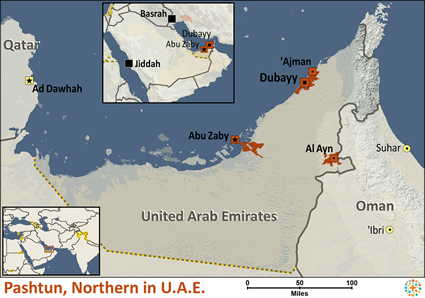 Pashtun, Northern in United Arab Emirates map