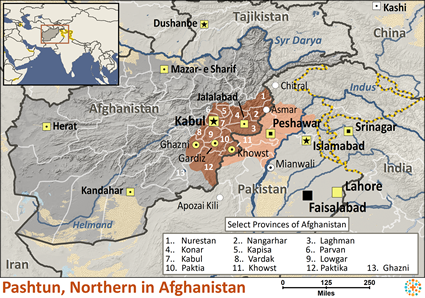 Pashtun, Northern in Afghanistan map