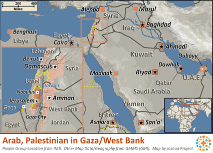 Arab, Palestinian in West Bank / Gaza map