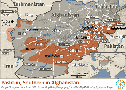 Pashtun, Southern in Afghanistan map