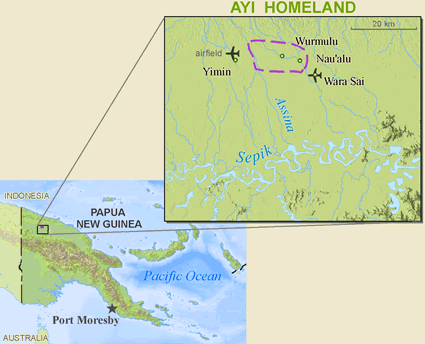 Ayi in Papua New Guinea map