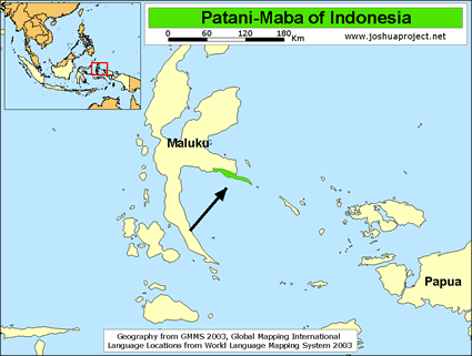 Patani in Indonesia map