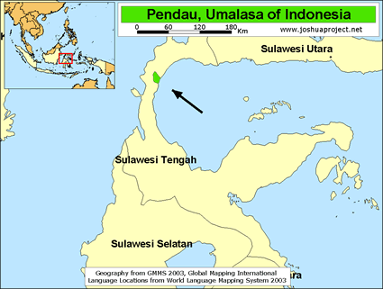 Pendau, Umalasa in Indonesia map