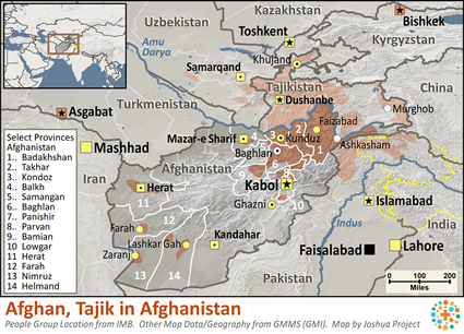 Afghan in Afghanistan map