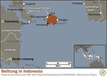 Belitung in Indonesia map