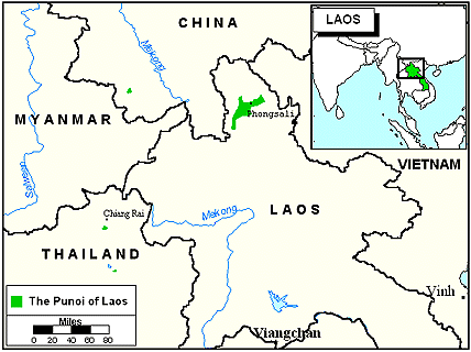 Phunoi in Laos map