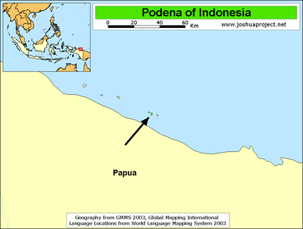 Podena in Indonesia map