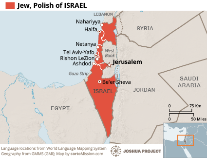Jew, Polish in Israel map