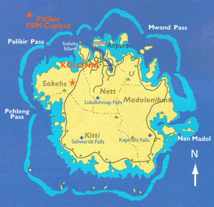 Ponapean in Micronesia, Federated States map