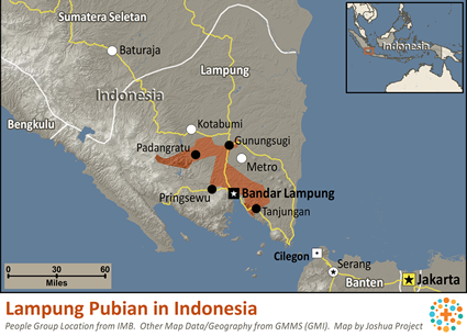 Lampung Pubian in Indonesia map