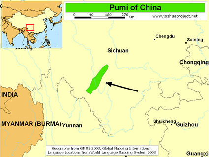Pumi in China map