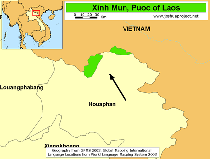 Puoc in Laos map