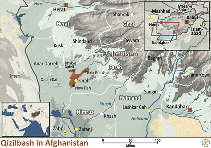 Qizilbash in Afghanistan map