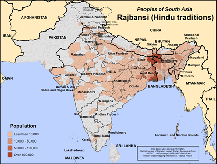 Rajbansi (Hindu traditions) in Bangladesh map