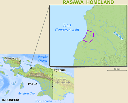 Rasawa in Indonesia map