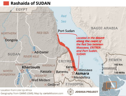 Rashaida in Sudan map
