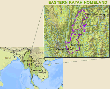 Karen, Eastern Kayah in Myanmar (Burma) map