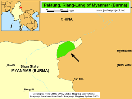 Riang in Myanmar (Burma) map