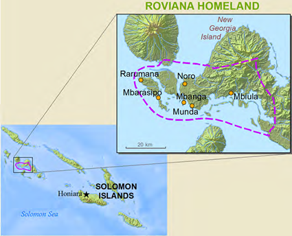Roviana in Solomon Islands map