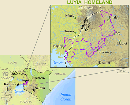 Luhya, Saamia in Kenya map