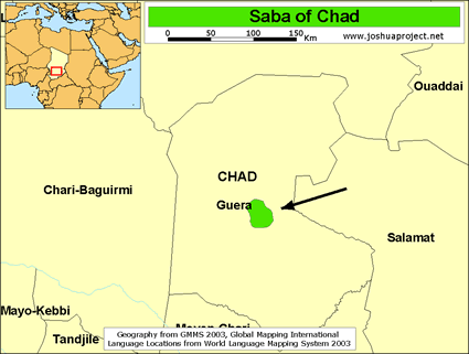 Saba in Chad map