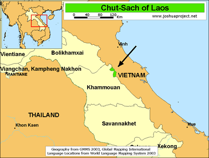 Chut-Sach in Laos map
