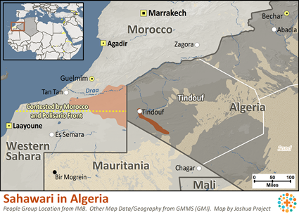 Saharawi in Algeria map
