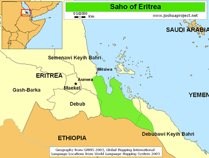 Saho, Irob in Eritrea map