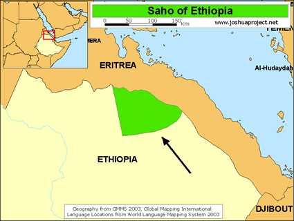 Saho, Irob in Ethiopia map