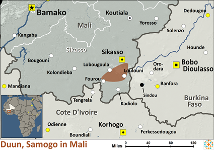 Duun, Samogo in Mali map