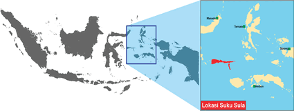 Sula in Indonesia map
