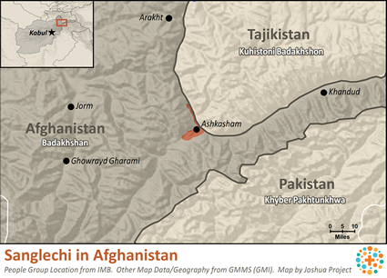 Sanglechi in Afghanistan map