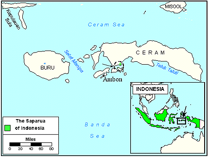 Saparua in Indonesia map